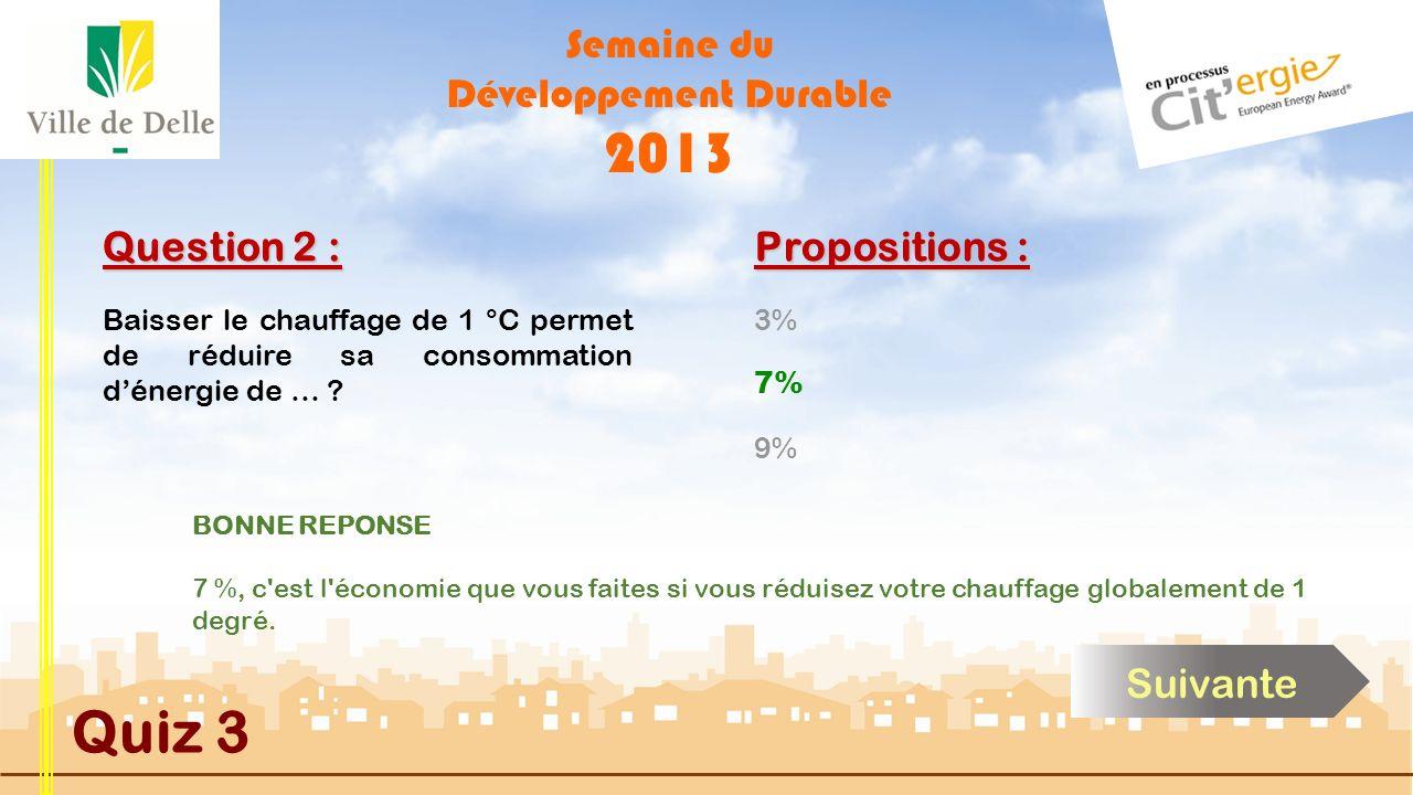 Semaine du Développement Durable 2013 Quiz 3 Question 2 : Baisser le chauffage de 1 °C permet de réduire sa consommation dénergie de … .