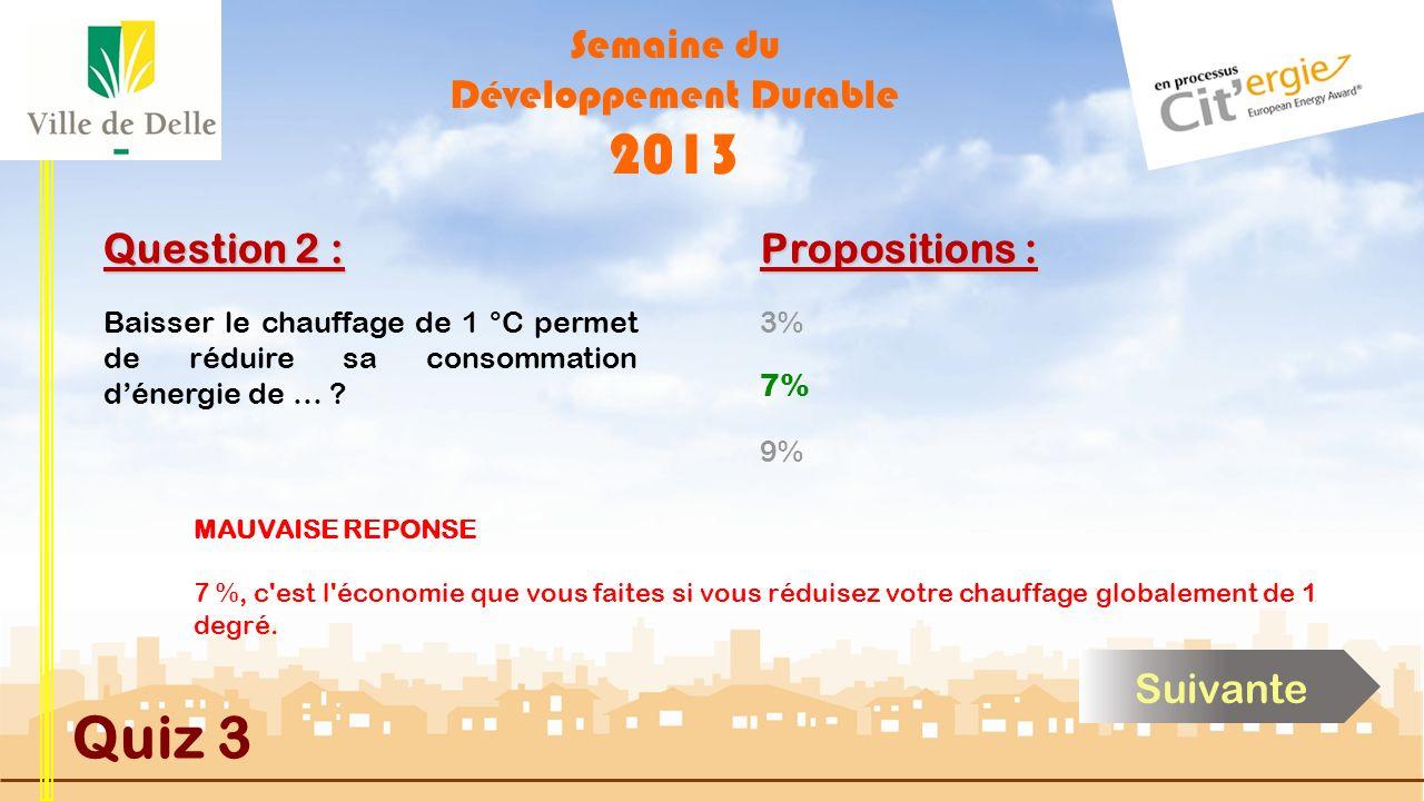 Semaine du Développement Durable 2013 Quiz 3 Question 2 : Propositions : BONNE REPONSE 7 %, c est l économie que vous faites si vous réduisez votre chauffage globalement de 1 degré.
