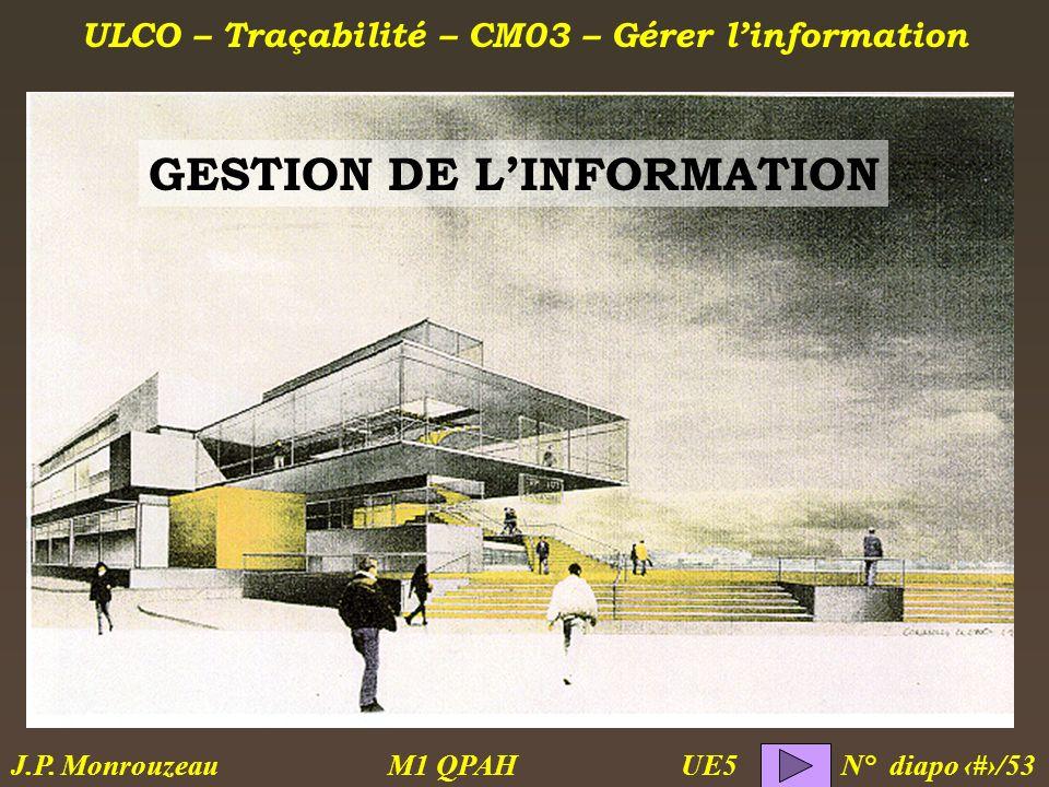 ULCO – Traçabilité – CM03 – Gérer linformation M1 QPAH N° diapo 1/53 J.P. Monrouzeau UE5 GESTION DE LINFORMATION