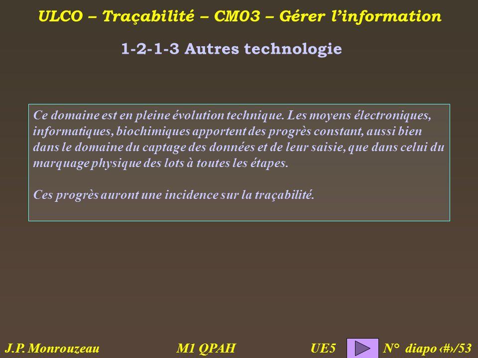 ULCO – Traçabilité – CM03 – Gérer linformation M1 QPAH N° diapo 14/53 J.P. Monrouzeau UE5 1-2-1-3 Autres technologie Ce domaine est en pleine évolutio