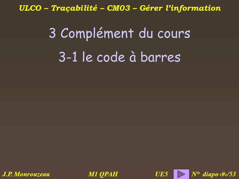 ULCO – Traçabilité – CM03 – Gérer linformation M1 QPAH N° diapo 23/53 J.P. Monrouzeau UE5 3 Complément du cours 3-1 le code à barres