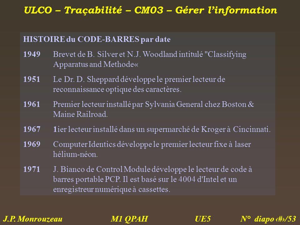 ULCO – Traçabilité – CM03 – Gérer linformation M1 QPAH N° diapo 24/53 J.P. Monrouzeau UE5 HISTOIRE du CODE-BARRES par date 1949Brevet de B. Silver et