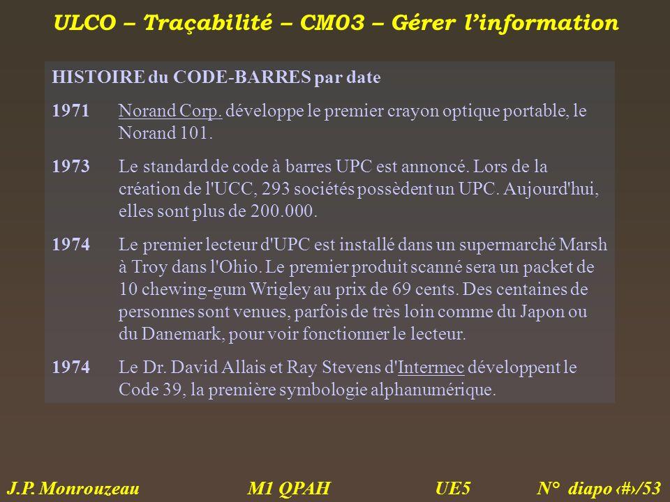 ULCO – Traçabilité – CM03 – Gérer linformation M1 QPAH N° diapo 25/53 J.P. Monrouzeau UE5 HISTOIRE du CODE-BARRES par date 1971Norand Corp. développe