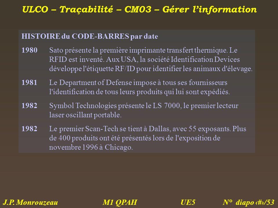 ULCO – Traçabilité – CM03 – Gérer linformation M1 QPAH N° diapo 26/53 J.P. Monrouzeau UE5 HISTOIRE du CODE-BARRES par date 1980Sato présente la premiè