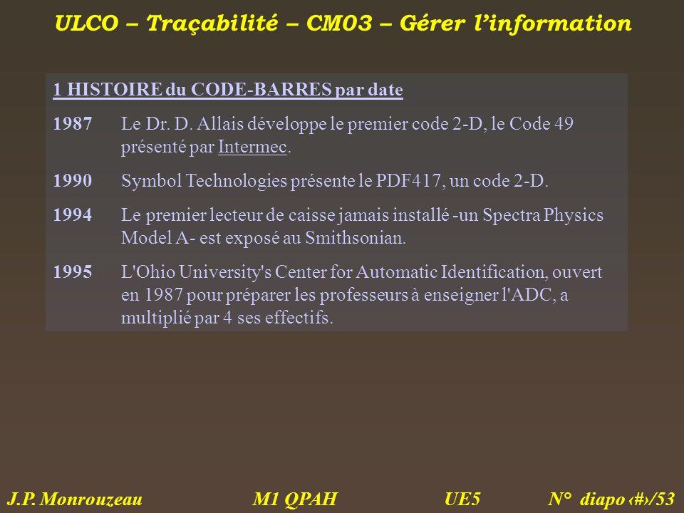 ULCO – Traçabilité – CM03 – Gérer linformation M1 QPAH N° diapo 27/53 J.P. Monrouzeau UE5 1 HISTOIRE du CODE-BARRES par date 1987Le Dr. D. Allais déve