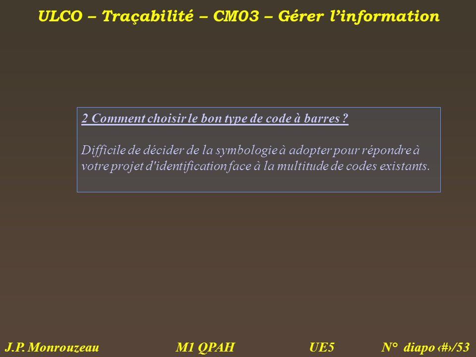 ULCO – Traçabilité – CM03 – Gérer linformation M1 QPAH N° diapo 28/53 J.P. Monrouzeau UE5 2 Comment choisir le bon type de code à barres ? Difficile d