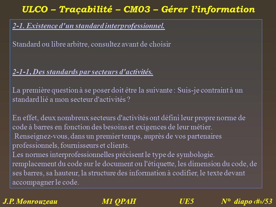 ULCO – Traçabilité – CM03 – Gérer linformation M1 QPAH N° diapo 29/53 J.P. Monrouzeau UE5 2-1. Existence d'un standard interprofessionnel. Standard ou