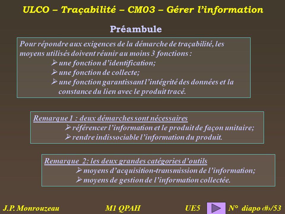 ULCO – Traçabilité – CM03 – Gérer linformation M1 QPAH N° diapo 3/53 J.P. Monrouzeau UE5 Pour répondre aux exigences de la démarche de traçabilité, le