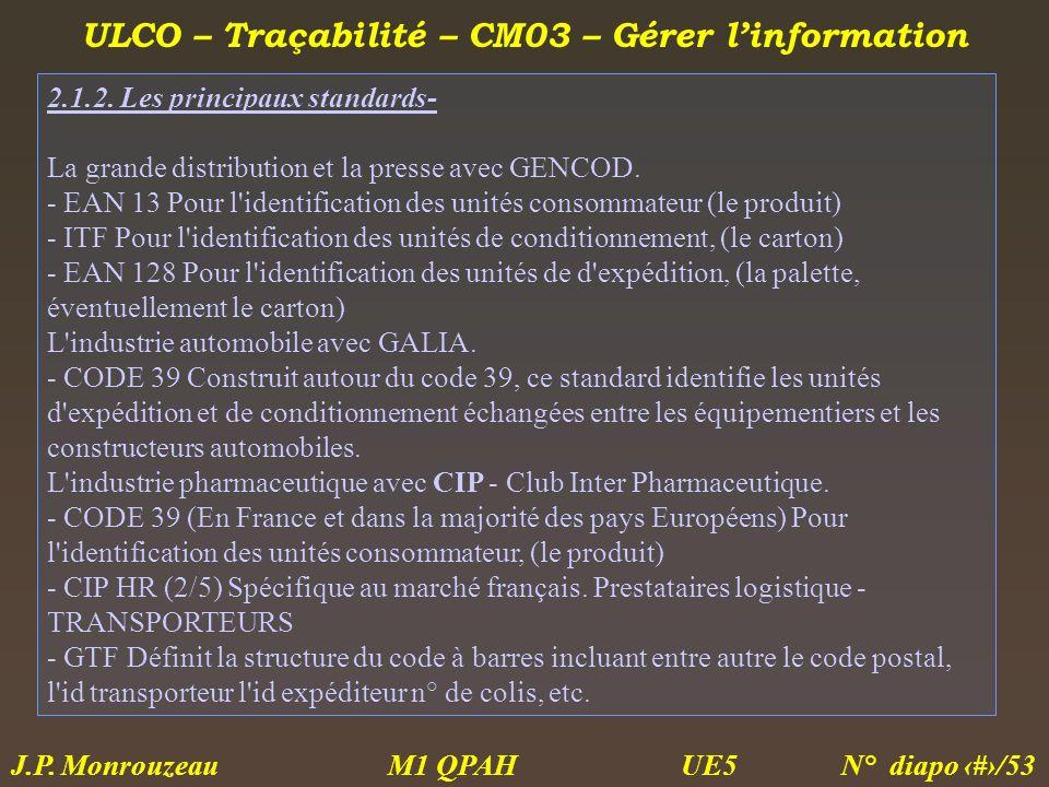 ULCO – Traçabilité – CM03 – Gérer linformation M1 QPAH N° diapo 30/53 J.P. Monrouzeau UE5 2.1.2. Les principaux standards- La grande distribution et l