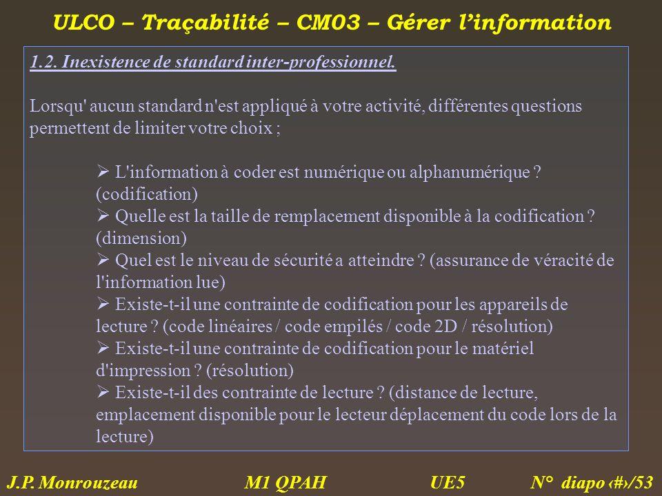 ULCO – Traçabilité – CM03 – Gérer linformation M1 QPAH N° diapo 31/53 J.P. Monrouzeau UE5 1.2. Inexistence de standard inter-professionnel. Lorsqu' au
