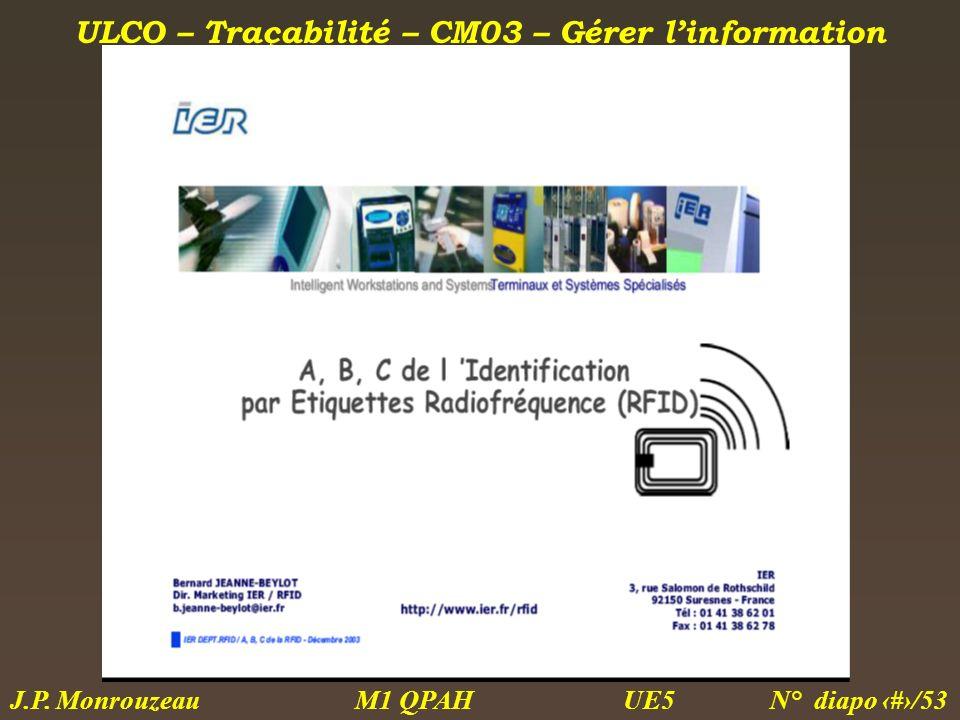 ULCO – Traçabilité – CM03 – Gérer linformation M1 QPAH N° diapo 35/53 J.P. Monrouzeau UE5