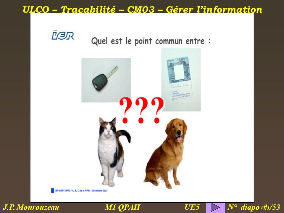 ULCO – Traçabilité – CM03 – Gérer linformation M1 QPAH N° diapo 36/53 J.P. Monrouzeau UE5