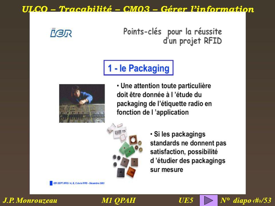ULCO – Traçabilité – CM03 – Gérer linformation M1 QPAH N° diapo 49/53 J.P. Monrouzeau UE5