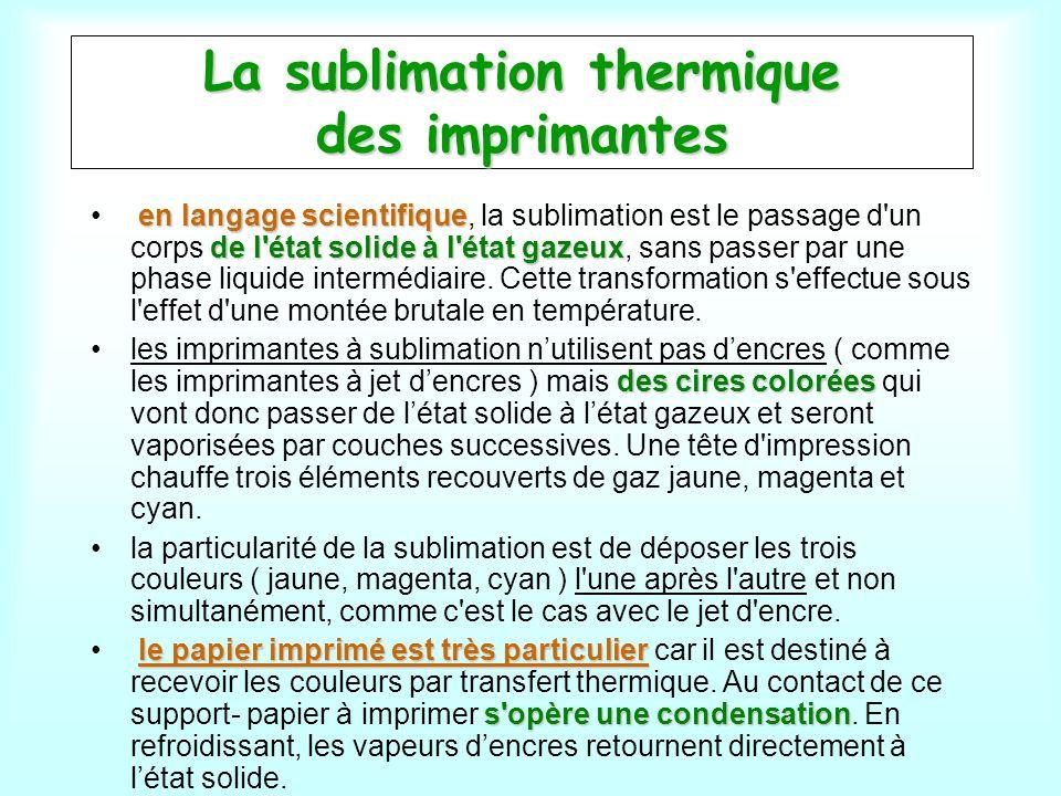 La sublimation thermique des imprimantes en langage scientifique de l'état solide à l'état gazeux en langage scientifique, la sublimation est le passa