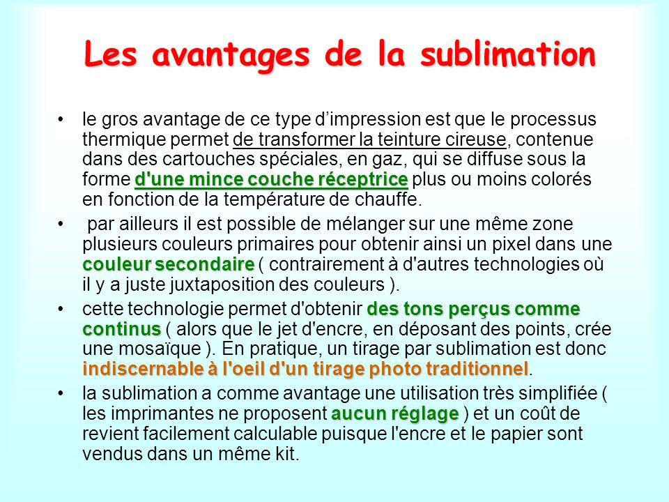 Les avantages de la sublimation d'une mince couche réceptricele gros avantage de ce type dimpression est que le processus thermique permet de transfor