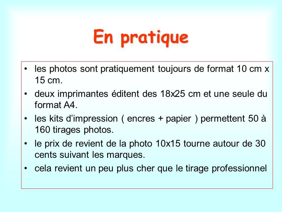 En pratique les photos sont pratiquement toujours de format 10 cm x 15 cm. deux imprimantes éditent des 18x25 cm et une seule du format A4. les kits d