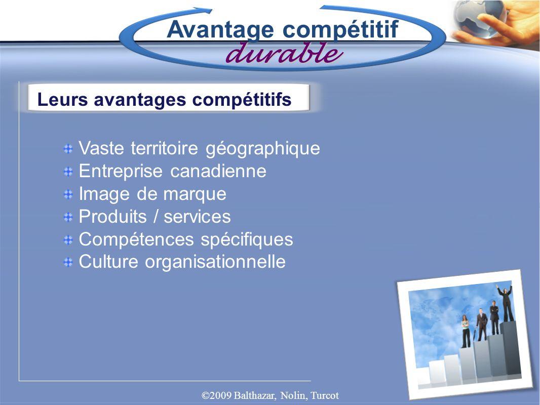 Avantage compétitif durable Leurs avantages compétitifs Vaste territoire géographique Entreprise canadienne Image de marque Produits / services Compét
