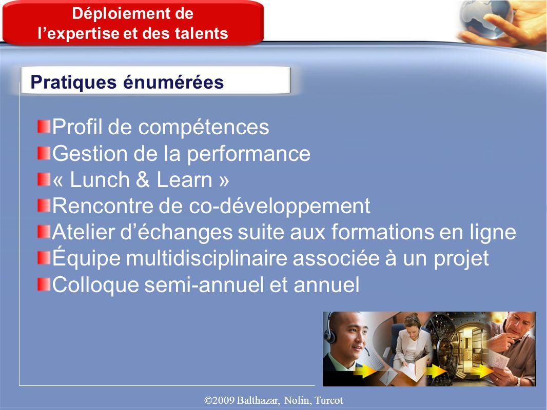 Pratiques énumérées Déploiement de lexpertise et des talents Profil de compétences Gestion de la performance « Lunch & Learn » Rencontre de co-dévelop