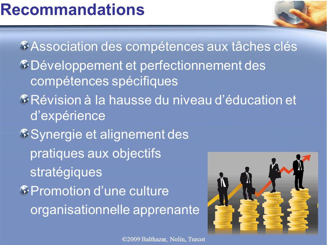 Association des compétences aux tâches clés Développement et perfectionnement des compétences spécifiques Révision à la hausse du niveau déducation et