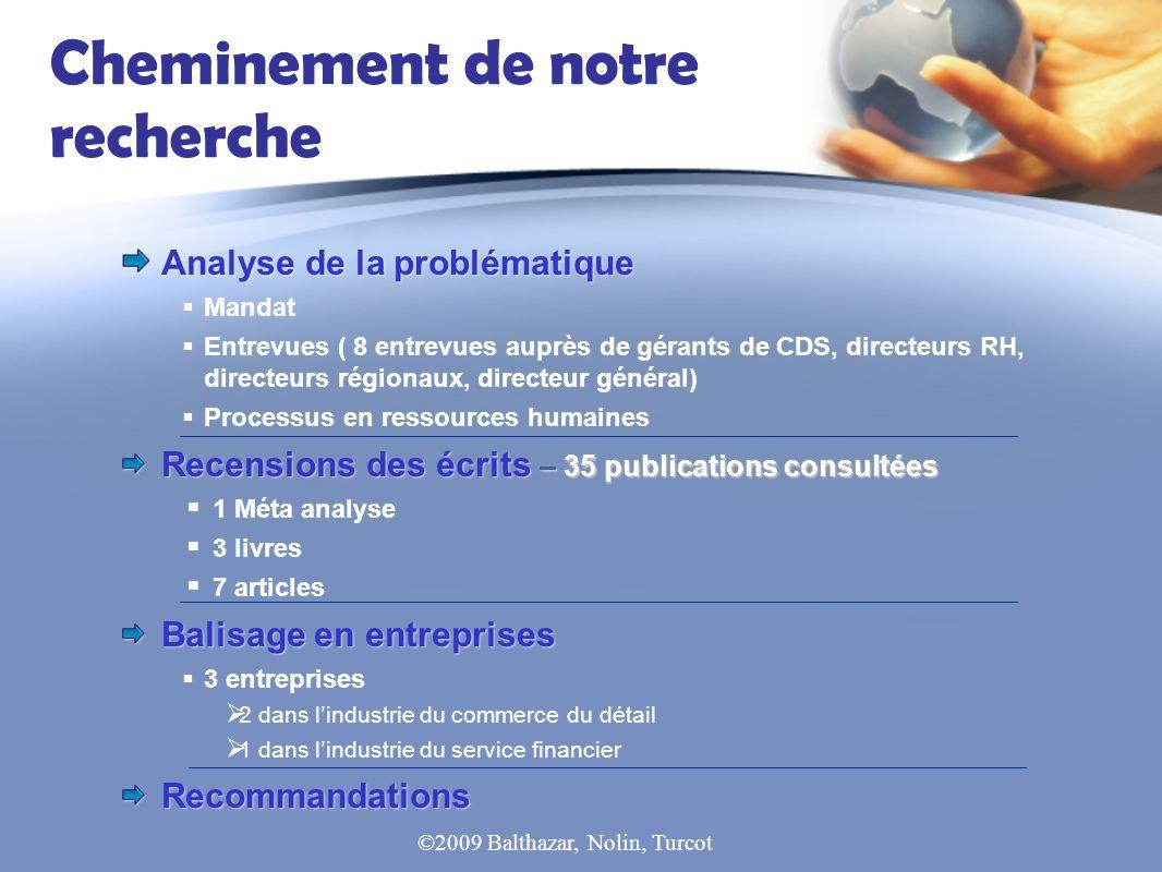 Cheminement de notre recherche Analyse de la problématique Mandat Entrevues ( 8 entrevues auprès de gérants de CDS, directeurs RH, directeurs régionau