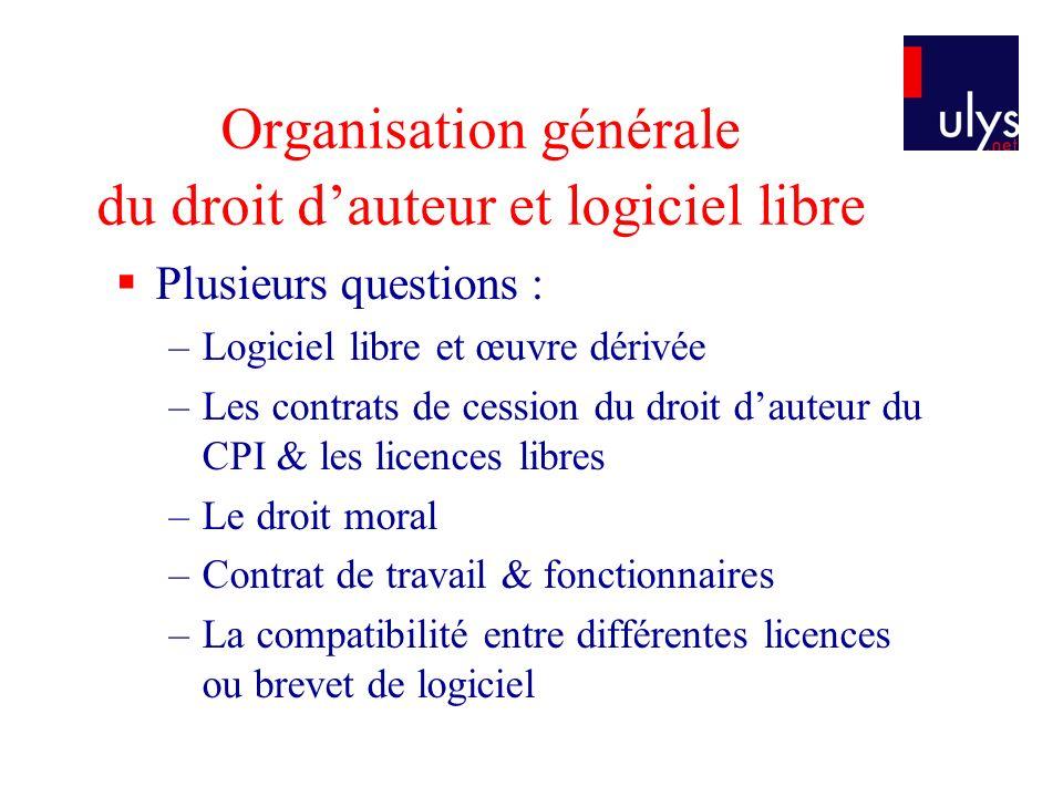 Organisation générale du droit dauteur et logiciel libre Plusieurs questions : –Logiciel libre et œuvre dérivée –Les contrats de cession du droit daut