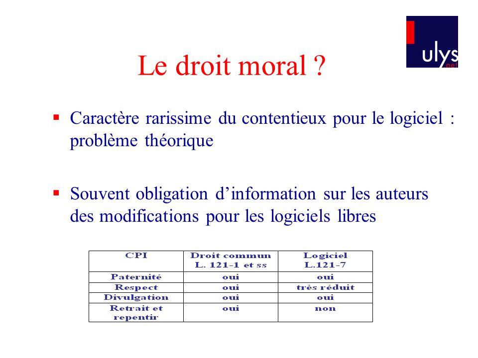 Le droit moral ? Caractère rarissime du contentieux pour le logiciel : problème théorique Souvent obligation dinformation sur les auteurs des modifica