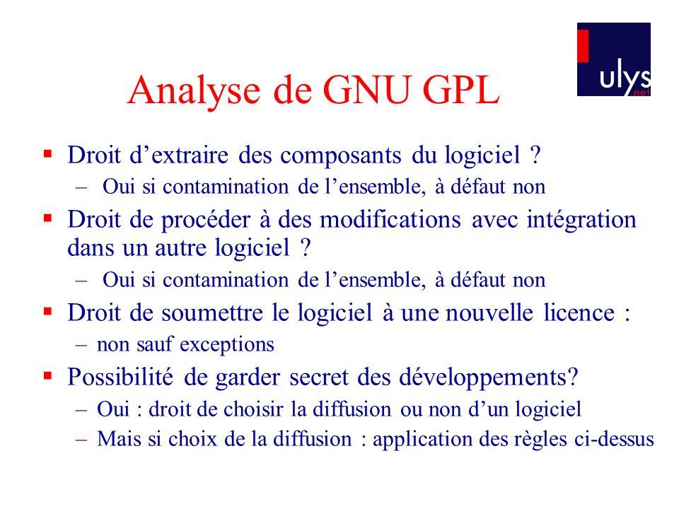 Analyse de GNU GPL Droit dextraire des composants du logiciel ? – Oui si contamination de lensemble, à défaut non Droit de procéder à des modification