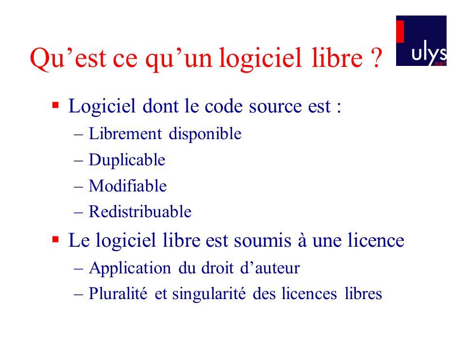 Quest ce quun logiciel libre ? Logiciel dont le code source est : –Librement disponible –Duplicable –Modifiable –Redistribuable Le logiciel libre est
