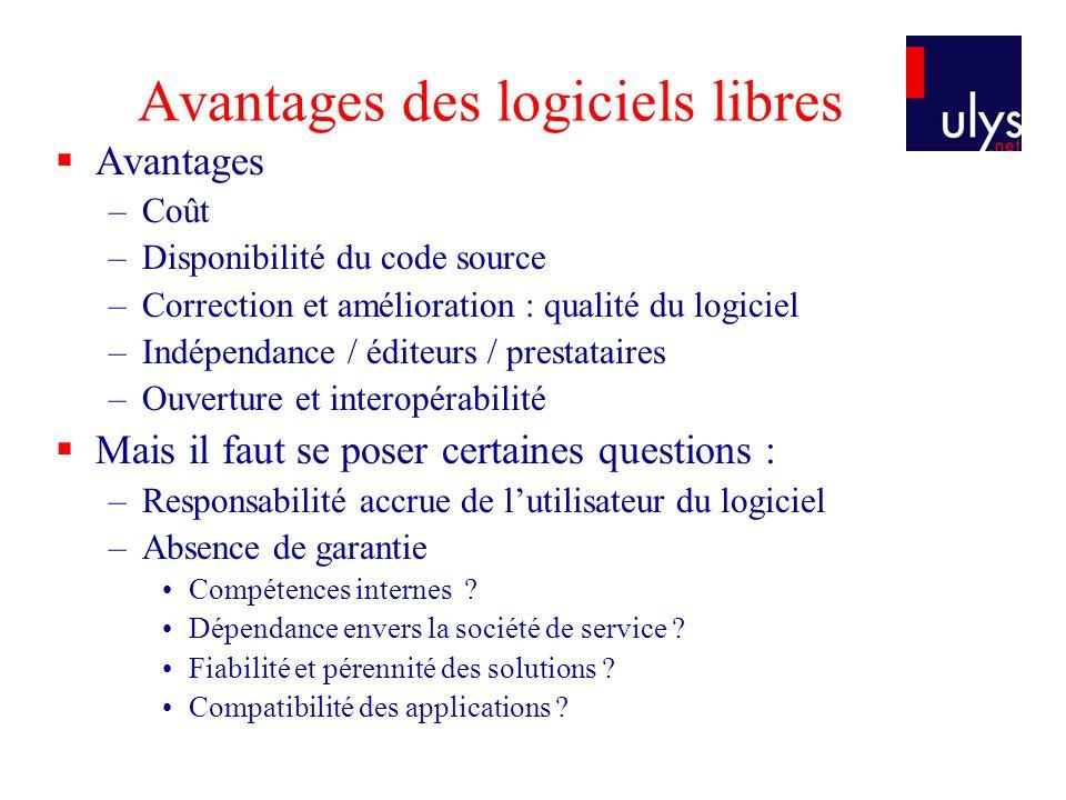 Avantages des logiciels libres Avantages –Coût –Disponibilité du code source –Correction et amélioration : qualité du logiciel –Indépendance / éditeur