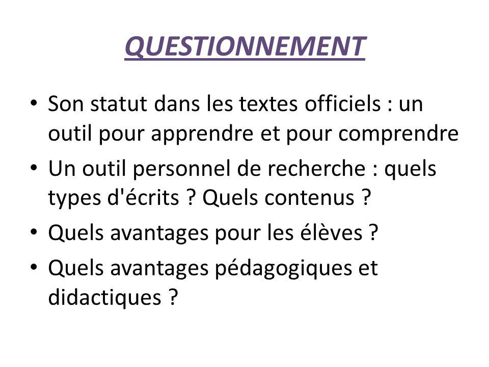 QUESTIONNEMENT Son statut dans les textes officiels : un outil pour apprendre et pour comprendre Un outil personnel de recherche : quels types d écrits .