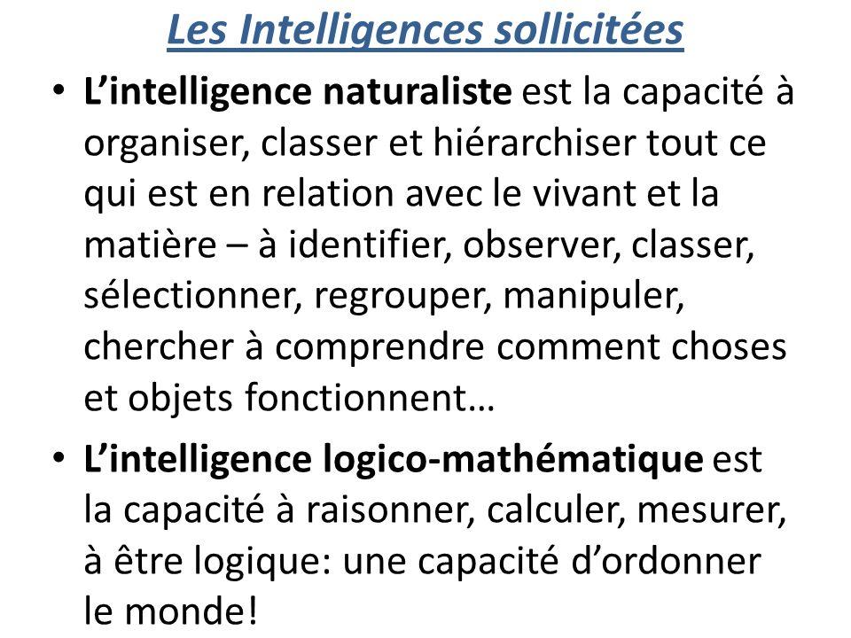 Les Intelligences sollicitées Lintelligence naturaliste est la capacité à organiser, classer et hiérarchiser tout ce qui est en relation avec le vivant et la matière – à identifier, observer, classer, sélectionner, regrouper, manipuler, chercher à comprendre comment choses et objets fonctionnent… Lintelligence logico-mathématique est la capacité à raisonner, calculer, mesurer, à être logique: une capacité dordonner le monde!