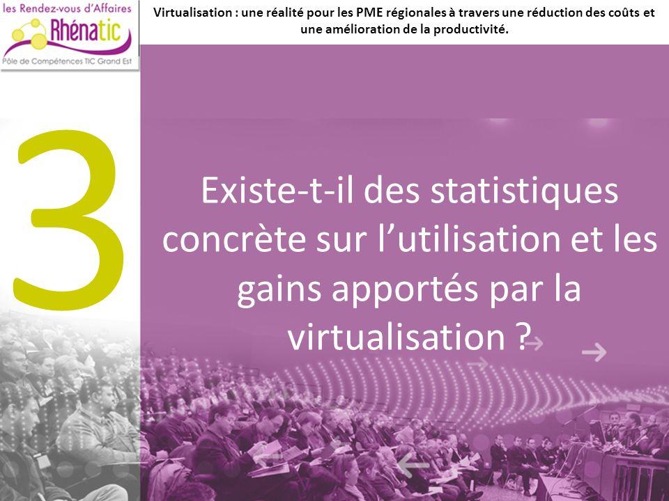 Existe-t-il des statistiques concrète sur lutilisation et les gains apportés par la virtualisation .