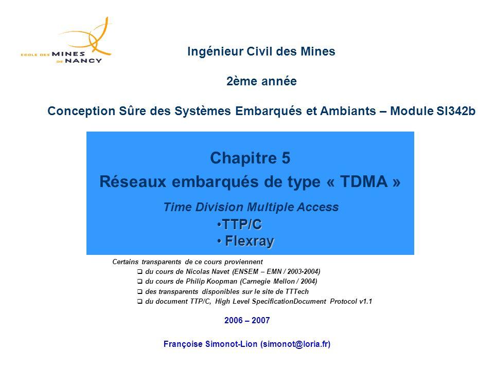 Chapitre 5 Réseaux embarqués de type « TDMA » Time Division Multiple Access 2006 – 2007 Françoise Simonot-Lion (simonot@loria.fr) Certains transparents de ce cours proviennent du cours de Nicolas Navet (ENSEM – EMN / 2003-2004) du cours de Philip Koopman (Carnegie Mellon / 2004) des transparents disponibles sur le site de TTTech du document TTP/C, High Level SpecificationDocument Protocol v1.1 TTP/CTTP/C Flexray Flexray Ingénieur Civil des Mines 2ème année Conception Sûre des Systèmes Embarqués et Ambiants – Module SI342b