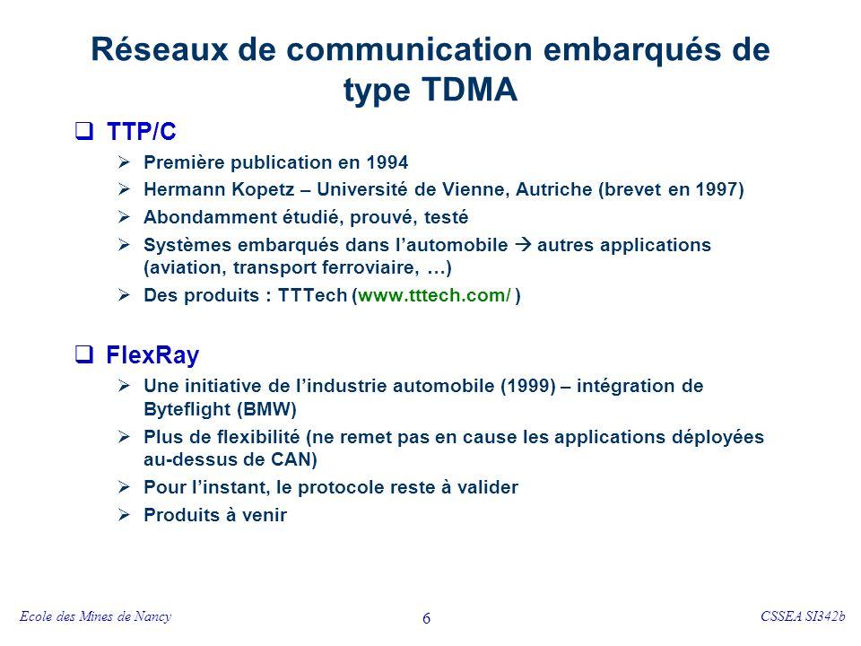 Ecole des Mines de NancyCSSEA SI342b 7 TTP/C - « Time Triggered Protocol » pour les applications de classe C (temps réel « dur ») Quelques sites http://www.vmars.tuwien.ac.at/frame-home.html http://tttech.com/technology/articles.htm Projets connexes https://www.decos.at/index.php http://www.vmars.tuwien.ac.at/projects/xbywire/index.html
