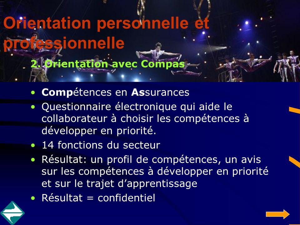 2. Orientation avec Compas Compétences en Assurances Questionnaire électronique qui aide le collaborateur à choisir les compétences à développer en pr