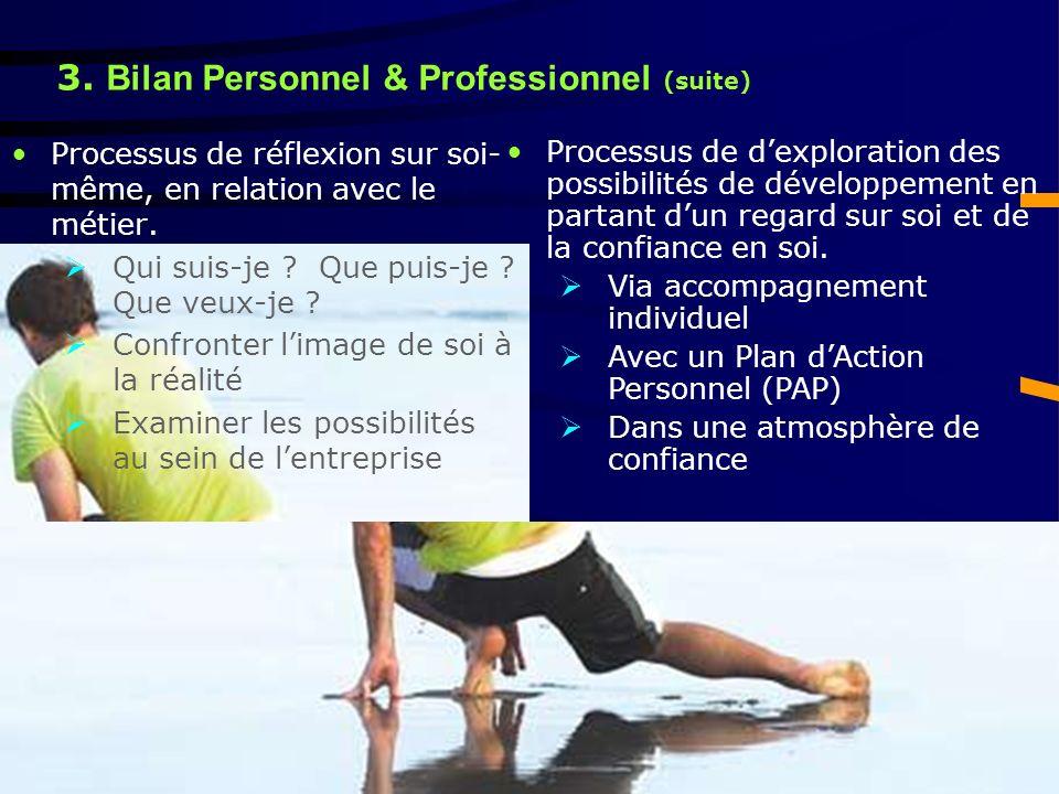 3. Bilan Personnel & Professionnel (suite) Processus de réflexion sur soi- même, en relation avec le métier. Qui suis-je ? Que puis-je ? Que veux-je ?