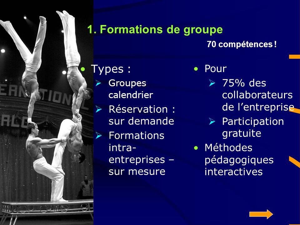 1. Formations de groupe 70 compétences .