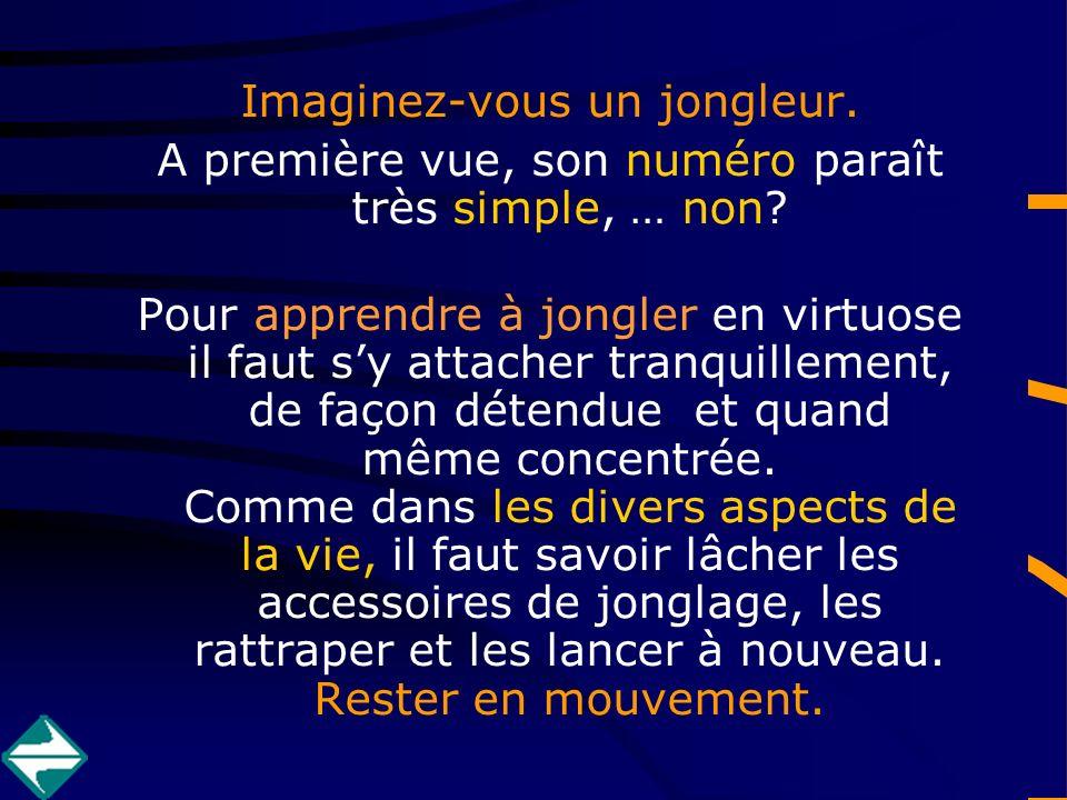 Imaginez-vous un jongleur. A première vue, son numéro paraît très simple, … non.