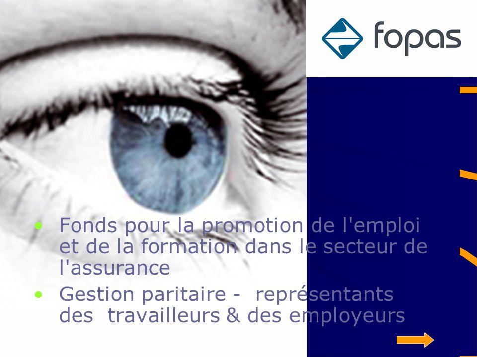 Fopas Fonds pour la promotion de l emploi et de la formation dans le secteur de l assurance Gestion paritaire - représentants des travailleurs & des employeurs