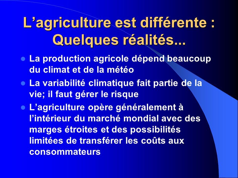 Lagriculture est différente : Quelques réalités... La production agricole dépend beaucoup du climat et de la météo La variabilité climatique fait part