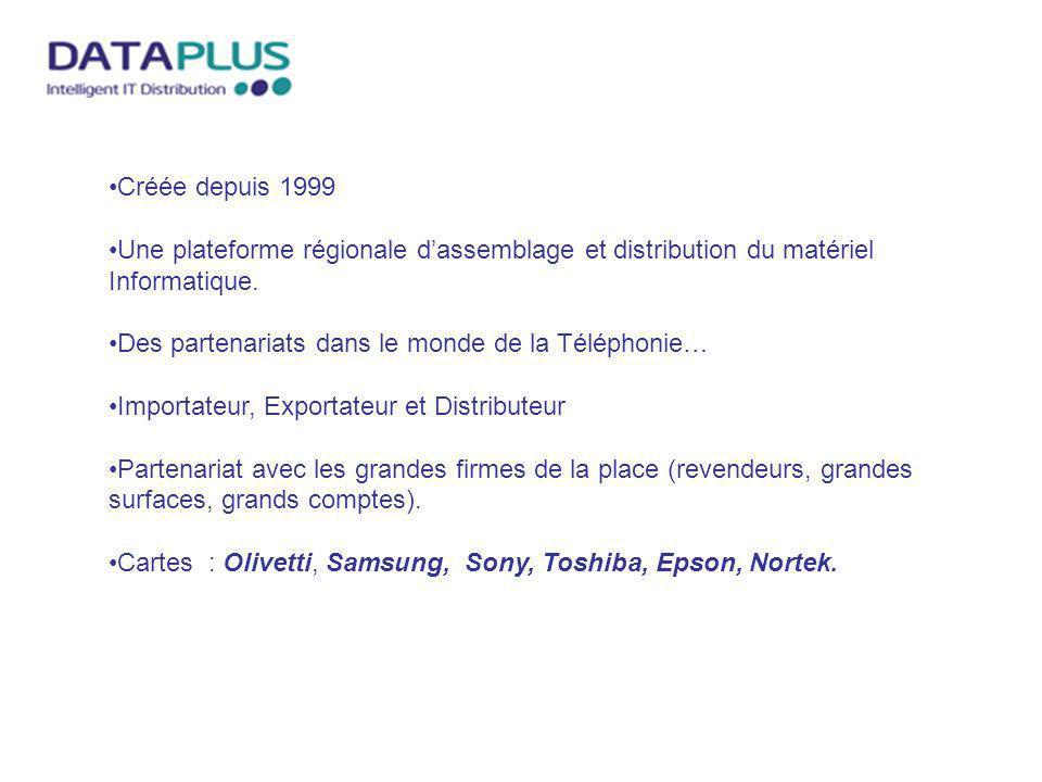 Créée depuis 1999 Une plateforme régionale dassemblage et distribution du matériel Informatique. Des partenariats dans le monde de la Téléphonie… Impo