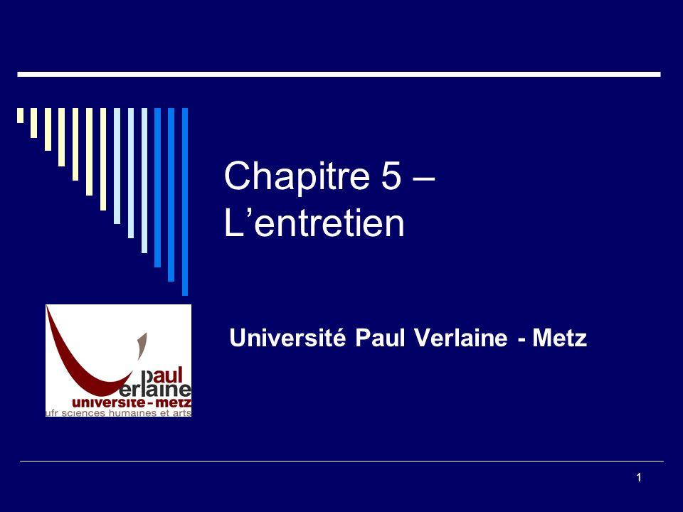 1 Chapitre 5 – Lentretien Université Paul Verlaine - Metz