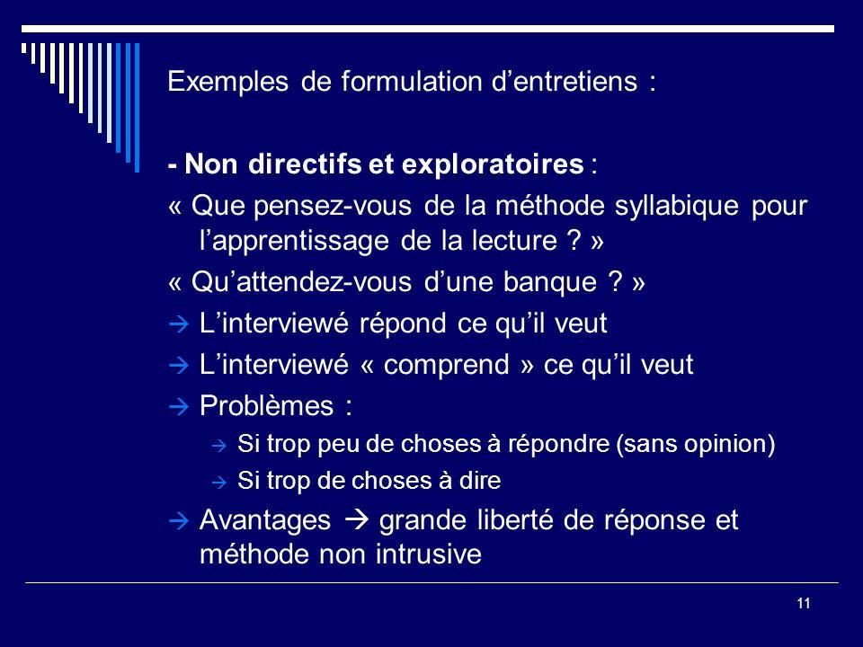 11 Exemples de formulation dentretiens : - Non directifs et exploratoires : « Que pensez-vous de la méthode syllabique pour lapprentissage de la lectu