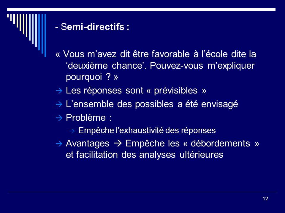12 - Semi-directifs : « Vous mavez dit être favorable à lécole dite la deuxième chance. Pouvez-vous mexpliquer pourquoi ? » Les réponses sont « prévis
