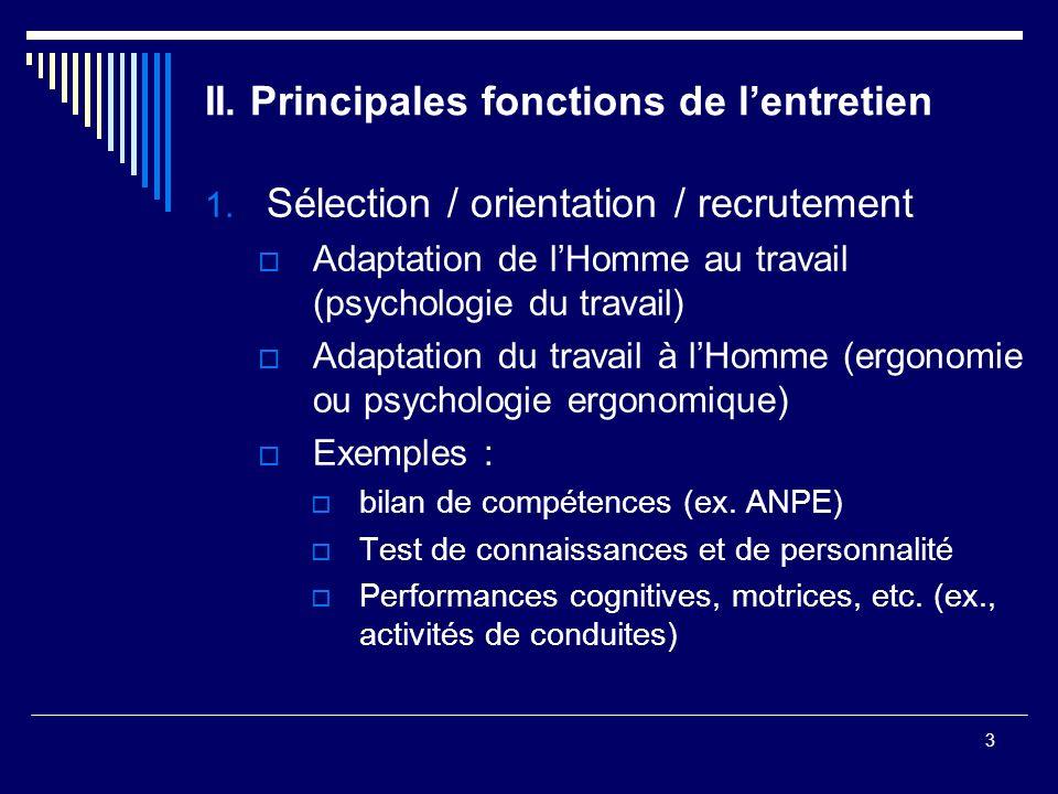 3 II. Principales fonctions de lentretien 1. Sélection / orientation / recrutement Adaptation de lHomme au travail (psychologie du travail) Adaptation