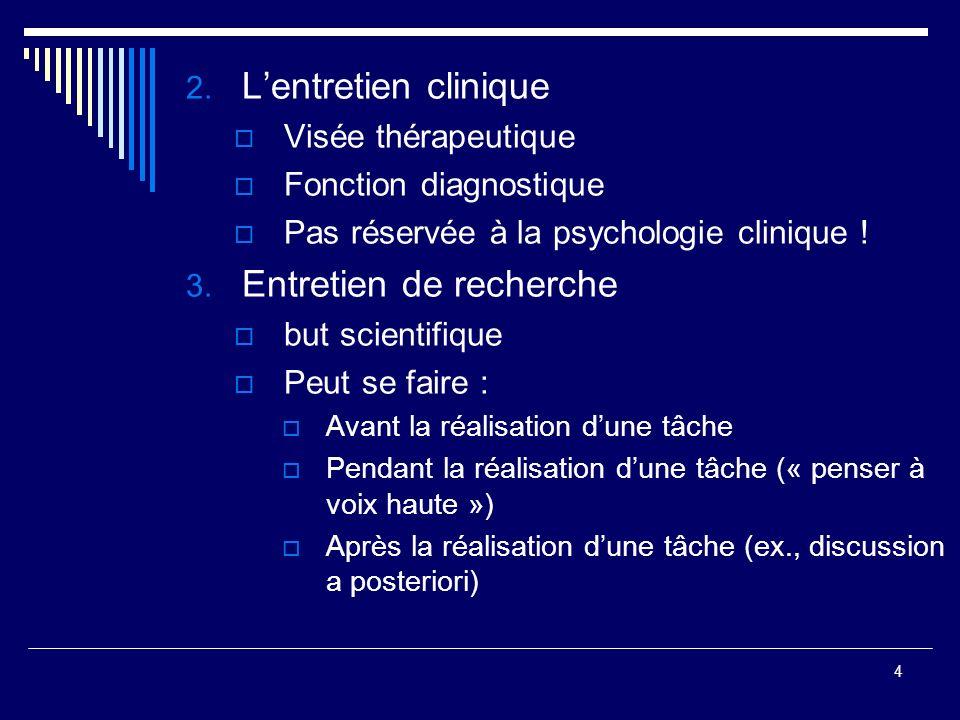 4 2. Lentretien clinique Visée thérapeutique Fonction diagnostique Pas réservée à la psychologie clinique ! 3. Entretien de recherche but scientifique