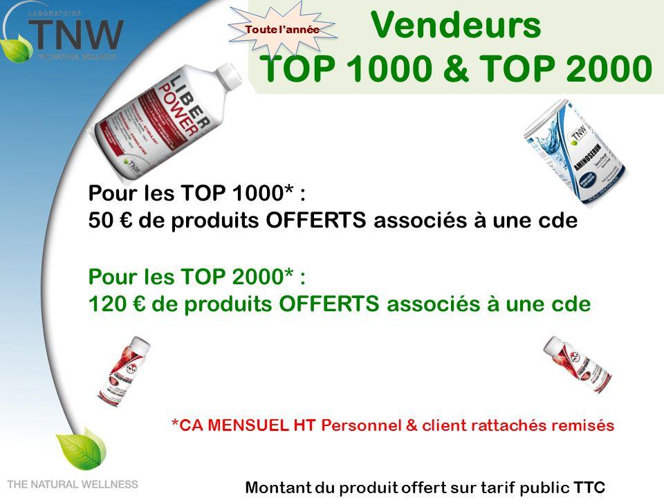 Vendeurs TOP 1000 & TOP 2000 Pour les TOP 1000* : 50 de produits OFFERTS associés à une cde Pour les TOP 2000* : 120 de produits OFFERTS associés à un
