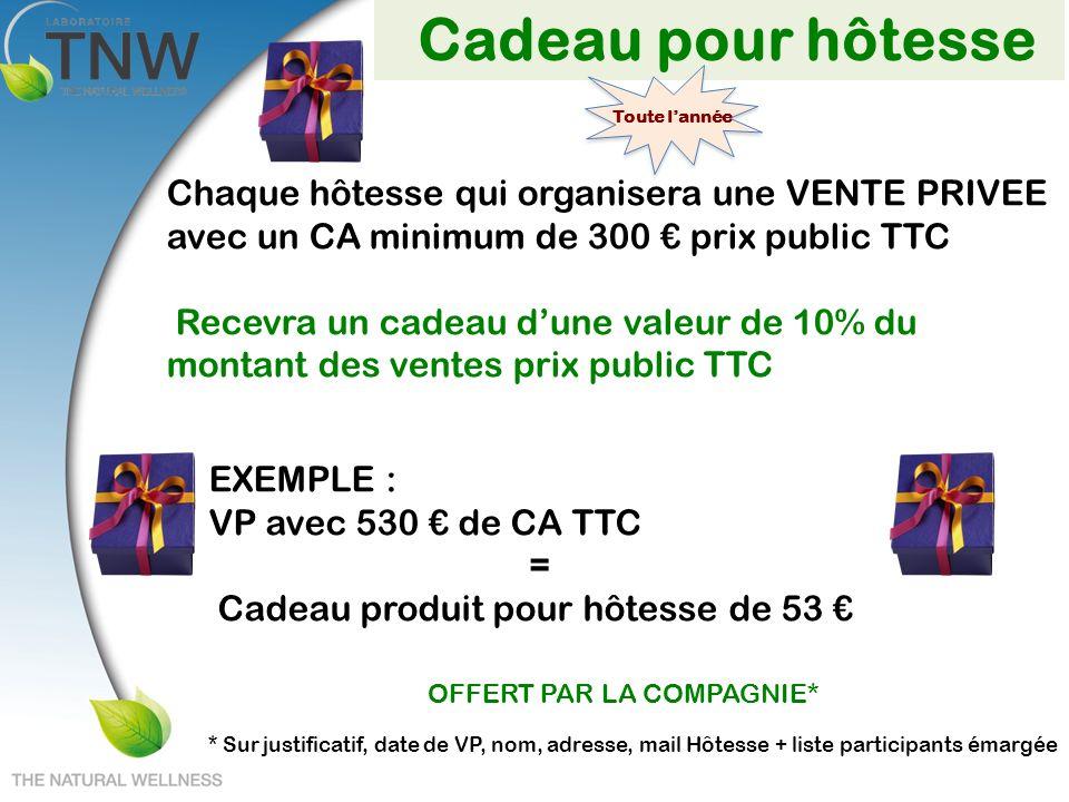 Cadeau pour hôtesse Chaque hôtesse qui organisera une VENTE PRIVEE avec un CA minimum de 300 prix public TTC Recevra un cadeau dune valeur de 10% du m