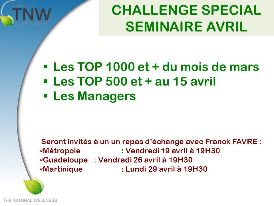 CHALLENGE SPECIAL SEMINAIRE AVRIL Les TOP 1000 et + du mois de mars Les TOP 500 et + au 15 avril Les Managers Seront invités à un un repas déchange av