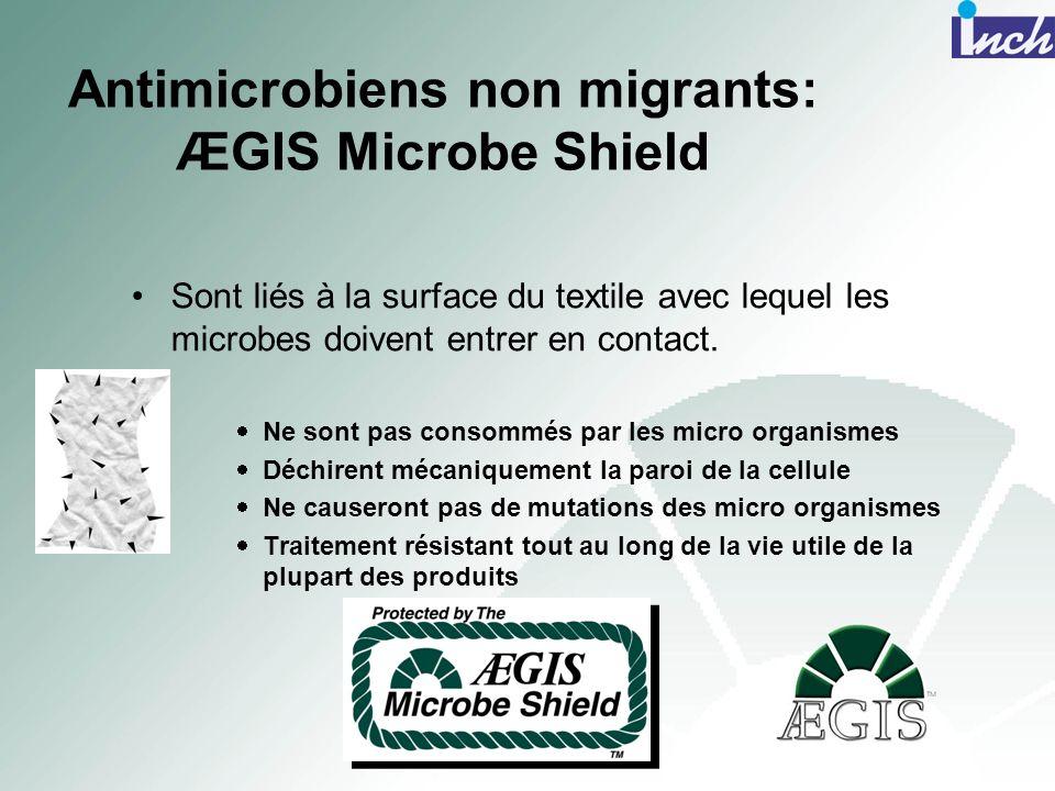 Antimicrobiens non migrants: ÆGIS Microbe Shield Sont liés à la surface du textile avec lequel les microbes doivent entrer en contact. Ne sont pas con